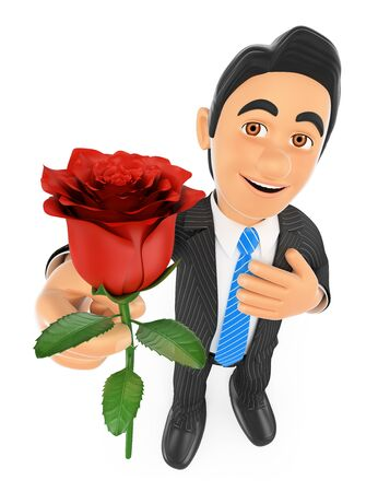 red rose: 3d business people. Businessman giving a red rose with hand on heart. Love concept. Isolated white background.