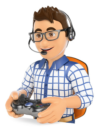 playing video game: 3d young people. Gamer playing console online game. Isolated white background.
