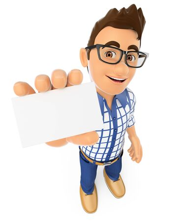 a charming: 3d young people. Teenager showing a blank card. Isolated white background.