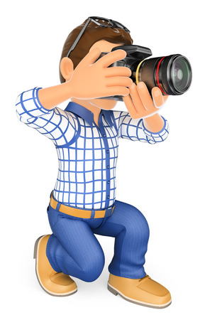 reflex: 3d working people. Photographer kneeling with his SLR camera. Isolated white background. Stock Photo