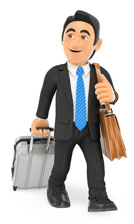 traveller: 3d business people. Businessman on a business trip. Isolated white background.