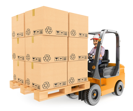 3d working people. Worker driving a forklift loaded with pallets of boxes. Isolated white background. Stock Photo