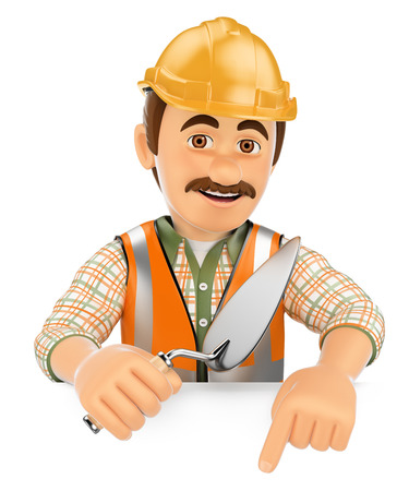 hand trowels: 3d working people. Construction worker with a trowel pointing down. Blank space. Isolated white background.