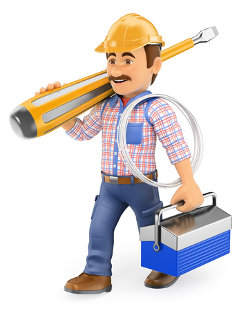 technician: 3d working people. Electrician walking with a huge screwdriver and toolbox. Isolated white background. Stock Photo