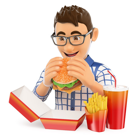 hamburgers: 3d young people. Young man eating a hamburger with fries and drink. Fast food concept. Isolated white background.