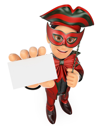 mysterious: 3d young people. Man with a carnival costume showing a blank card. Isolated white background.