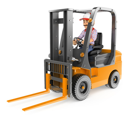 3d working people. Worker driving a forklift unloaded. Isolated white background. Stock Photo