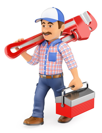 pipe wrench: 3d working people. Plumber walking with a pipe wrench and toolbox. Isolated white background.