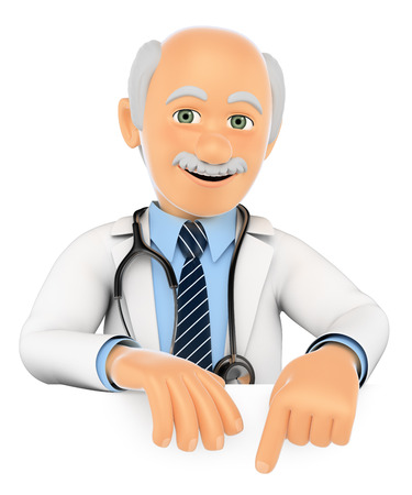 ad board: 3d medical people. Doctor pointing down. Blank space. Isolated white background.