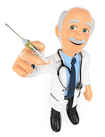 surgical needle: 3d medical people. Doctor with a syringe. Vaccine concept. Isolated white background.