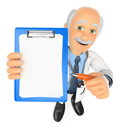pen and paper: 3d medical people. Doctor with blank clipboard and a pen. Isolated white background.