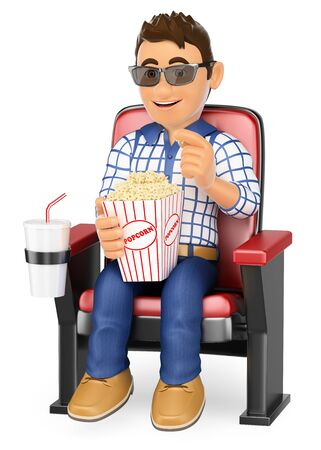 spectator: 3d young people. Young teen in the cinema with popcorn and drink. Isolated white background.