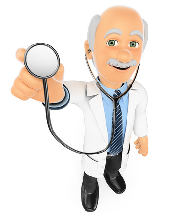 stethoscope isolated on white background: 3d medical people. Doctor listening with a stethoscope. Isolated white background. Stock Photo