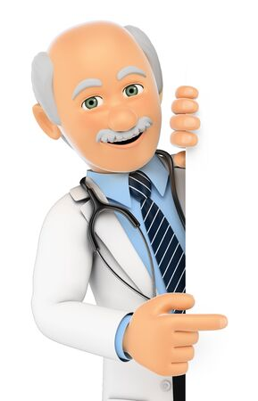 aside: 3d medical people. Doctor pointing aside. Blank space. Isolated white background.