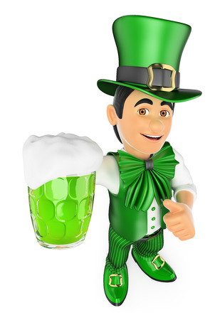 leprechaun: 3d young people. St Patrick day man with a beer. Isolated white background. Stock Photo