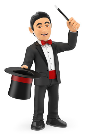 conjure: 3d bow tie people. Magician with hat and wand. Isolated white background.