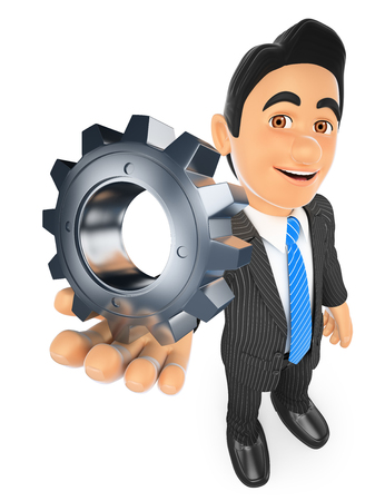 cooperate: 3d business people. Businessman with a gear. Isolated white background.