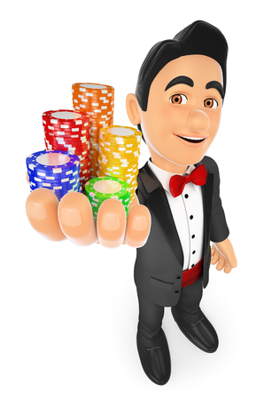 bet: 3d bow tie people. Tuxedo man with casino chips. Bet concept. Isolated white background. Stock Photo
