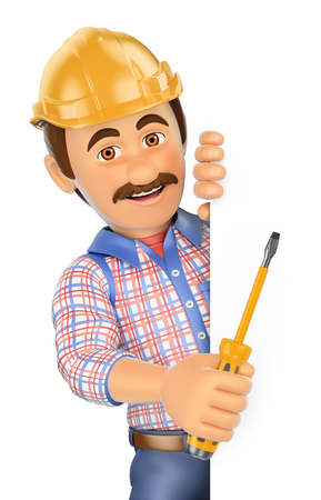 construction hat: 3d working people. Electrician with a screwdriver pointing aside. Blank space. Isolated white background