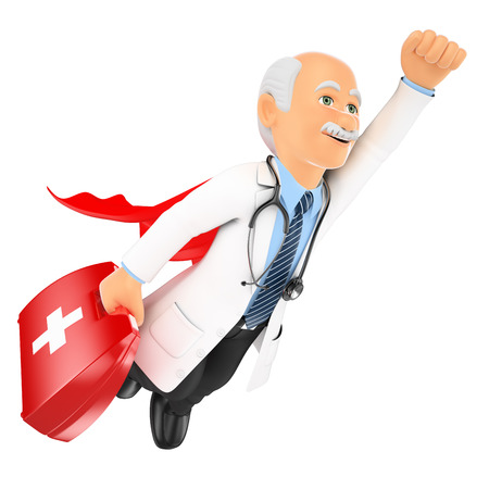 3d medical people. Super doctor flying with first aid kit. Isolated white background.