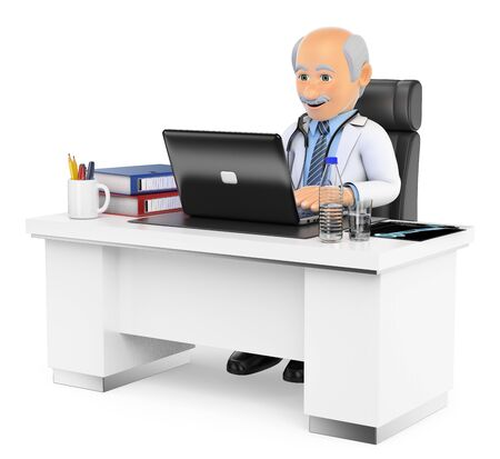 people sitting: 3d medical people. Doctor working in his office. Isolated white background.