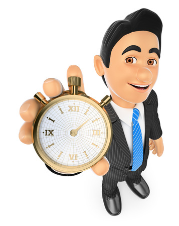 under pressure: 3d business people. Businessman with a gold stopwatch. Time is money. Isolated white background.