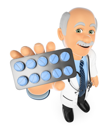white pills: 3d medical people. Doctor with a pills tablet. Medicines. Isolated white background. Stock Photo