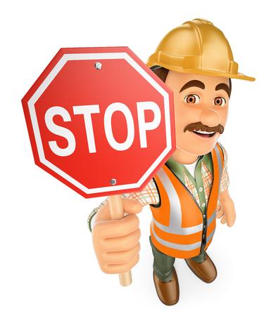 obrero trabajando: 3d personas que trabajan. Trabajador de construcción con una señal de parada. fondo blanco aislado.