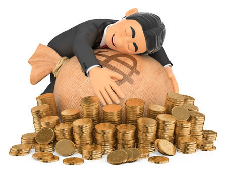 rich man: 3d bow tie people. Tuxedo rich man hugging his money. Isolated white background.
