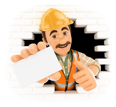 builder: 3d working people. Worker coming out a wall hole with a blank card. Isolated white background.