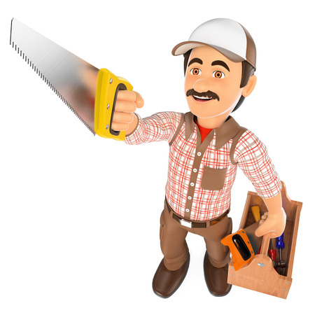 craftsperson: 3d working people. Carpenter with saw and toolbox. Isolated white background.