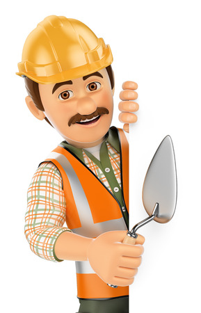 aside: 3d working people. Construction worker with trowel pointing aside. Blank space. Isolated white background.