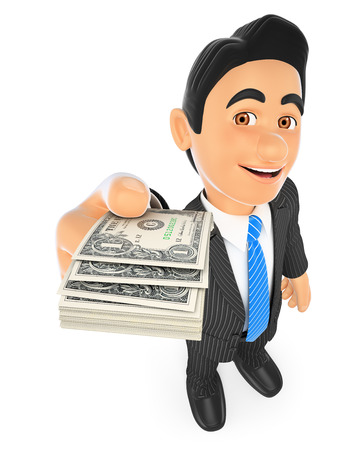 paying bills: 3d business people. Businessman with dollar bills. Isolated white background.