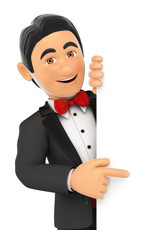 aside: 3d bow tie people. Tuxedo man pointing aside. Blank space. Isolated white background. Stock Photo