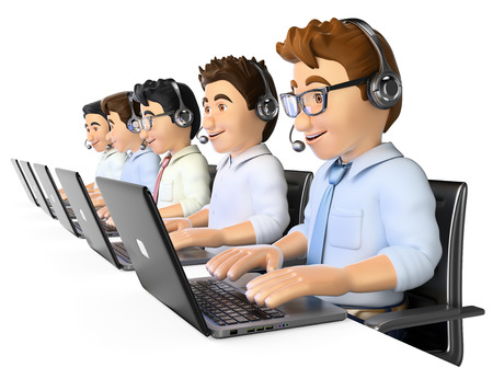 helpdesk: 3d working people. Men working in a call center. Isolated white background.