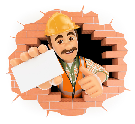 holes: 3d working people. Worker coming out a wall hole with a blank card. Isolated white background.