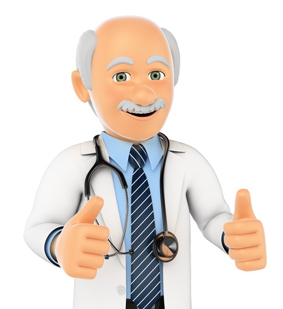 hand showing thumbs up: 3d medical people. Doctor with thumbs up. Isolated white background.