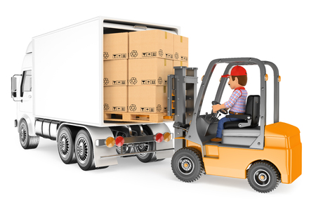 3d working people. Worker driving a forklift loading a truck. Isolated white background. Foto de archivo