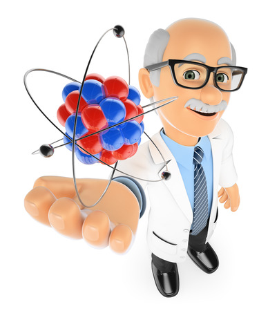3d education people. Physics teacher with an atom. Isolated white background.