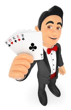 card game: 3d bow tie people. Tuxedo man with poker cards. Isolated white background. Stock Photo