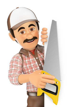 aside: 3d working people. Carpenter with saw pointing aside. Blank space. Isolated white background.