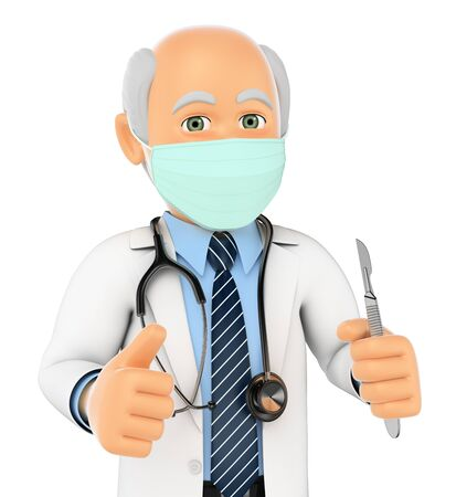 surgeon mask: 3d medical people. Surgeon with mask scalpel and thumb up. Isolated white background.