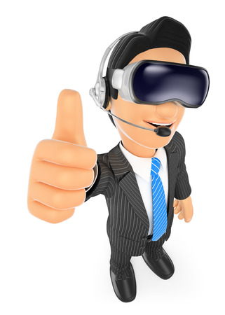 virtual reality simulator: 3d business people. Businessman with virtual reality glasses. VR. Isolated white background.