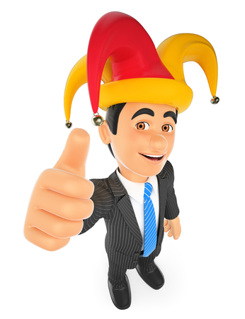 idiot: 3d business people. Businessman with a april fools hat. Isolated white background.