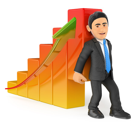 economics: 3d business people. Businessman lifting up the economy bar graph. Isolated white background.