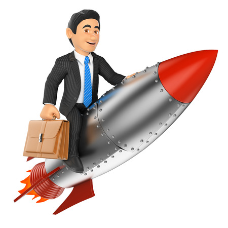 3d business people. Businessman riding a rocket. Isolated white background. Archivio Fotografico