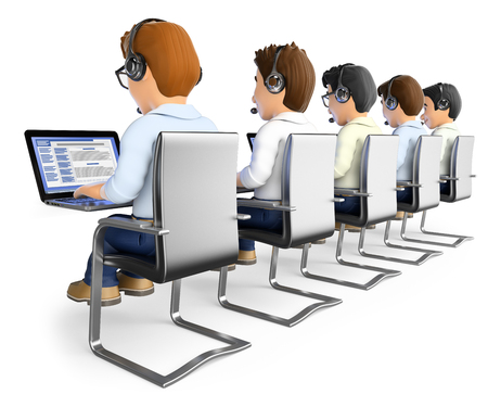 headphone: 3d working people. Men working in a call center. Isolated white background.