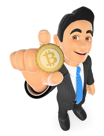 net trade: 3d business people. Businessman showing a bitcoin. Isolated white background. Stock Photo