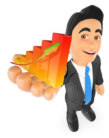 people in line: 3d business people. Businessman showing a bar graph. Isolated white background.