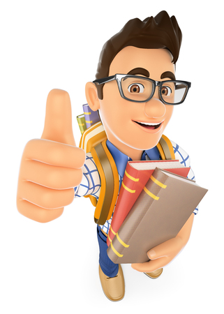 thumb up: 3d young people. Teenager with books backpack and thumb up. Isolated white background.